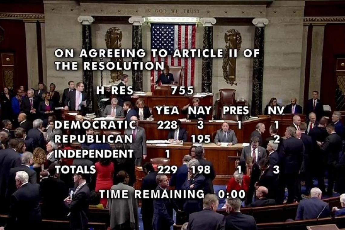 The US House of Representatives voted to impeach President Donald Trump.